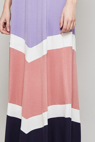 Color Block Maxi Dress - Mint and Lavender