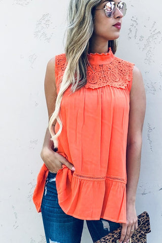Lace Trim Sleeveless Top - Coral