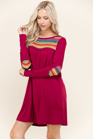 Embroidered Shift Long Sleeve Dress - Burgundy