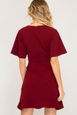 Half Sleeve Ruffle Bottom Dress - Wine