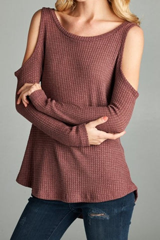 Lovely Evening Cold Shoulder Top - Burgundy