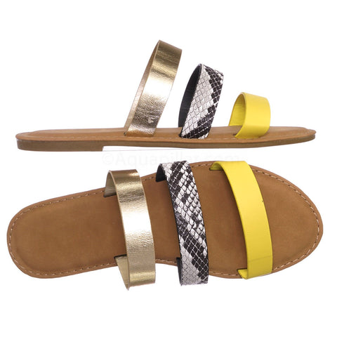 Triple Strap Colorful Summer Sandals - Yellow, Gold, and Snake