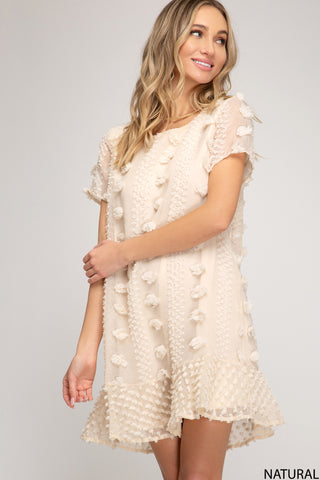 Flouncy Shift Dress - Natural