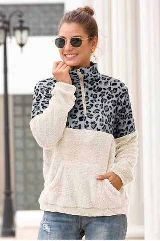 Leopard Print Pullover Fleece - Gray and White