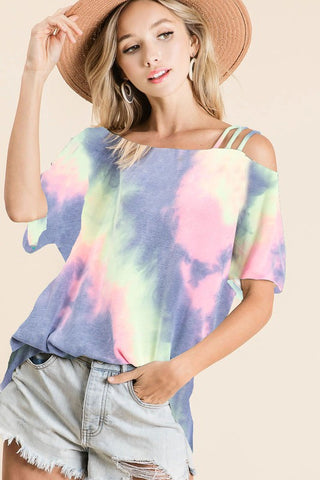Strappy Tie Dye Short Sleeve Sweatshirt - Charcoal