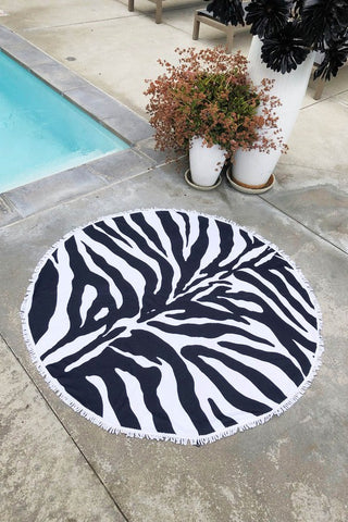 Summer Round Oversized Beach Blanket Towel - Zebra