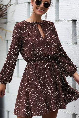 Polka Dot Long Sleeve Dress - Coffee