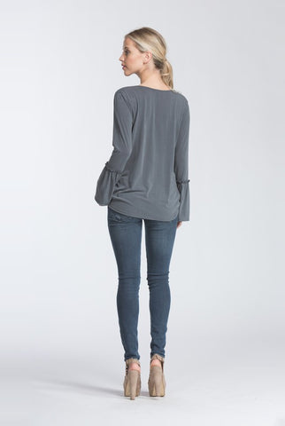 First Impressions Bell Sleeve Top - Charcoal