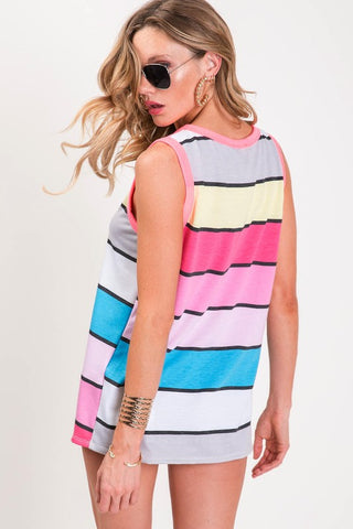 Summer Sorbet Sleeveless Top - Vivid