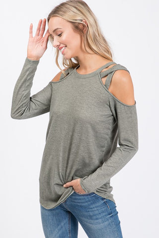 Criss Cross Long Sleeve Top - Vintage Olive