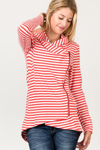 Asymmetrical Zip Up Fleece Jacket - Coral Stripes
