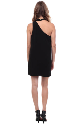 One Shoulder Shift Dress - Black