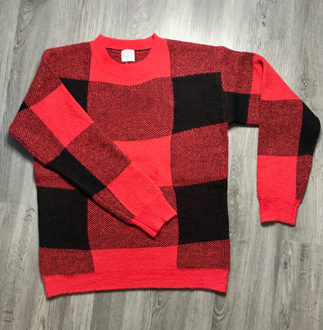 Plaid Sweater - Red