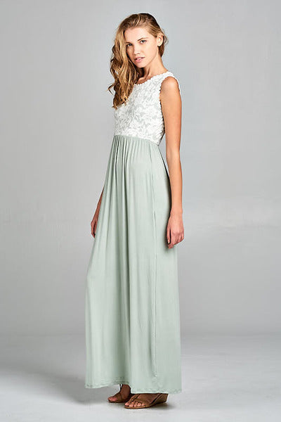 bf10b6b1a4 Lace Top Maxi Dress - Sage