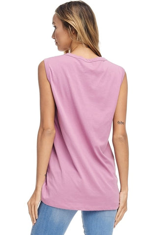Good Vibes Sleeveless Graphic Top - Orchid