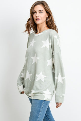 Star Print Lightweight Sweatshirt - Sage