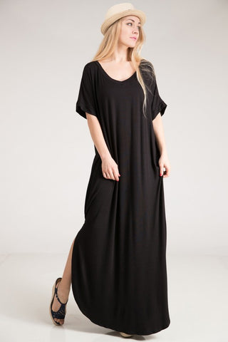 V-Neck T-Shirt Style Dress - Black