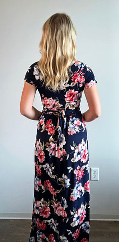 Floral Print Back Tie Maxi Dress