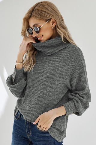 Turtleneck Sweater with Button Detail - Gray