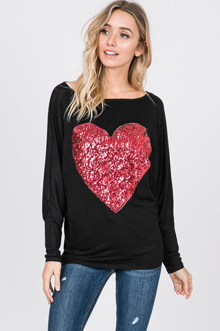 Sequined Heart Top - Black