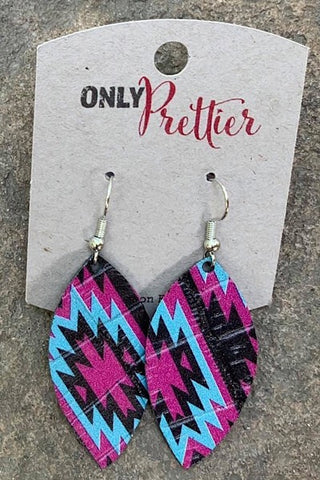 Small Lightweight Aztec Leaf Earrings