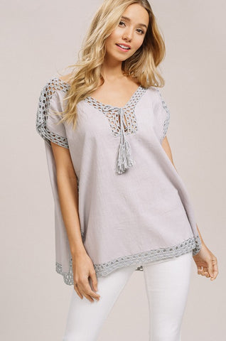 Crochet Detail Poncho Top - Grey
