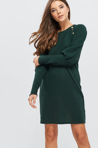 Puff Sleeve Dress with Button Detail - Green