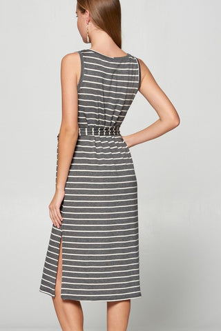 Striped Midi Dress with Side Slit - Charcoal