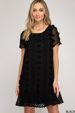 Flouncy Shift Dress - Black
