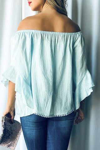 Off Shoulder Top with Pom Pom Detail - Mint