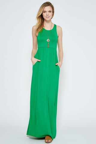 Solid Racerback Maxi Dress - Green