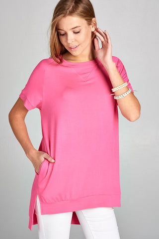 Crew Neck High Low Top - Hot Pink