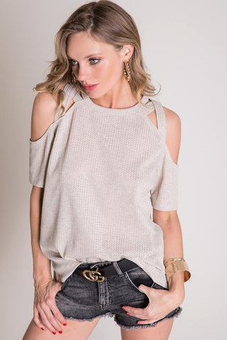 Waffle Knit Strappy Cold Shoulder Top - Oatmeal