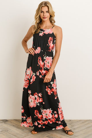 Aloha Maxi Dress - Black and Coral