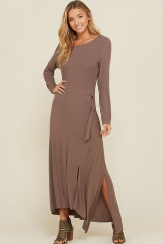 Asymmetrical Rib Knit Maxi Dress - Mocha