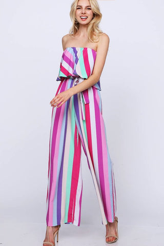 Strapless Rainbow Stripes Jumpsuit - Fuchsia