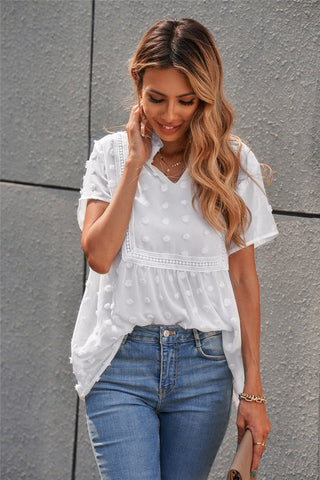 Short Sleeve Boho Top - White