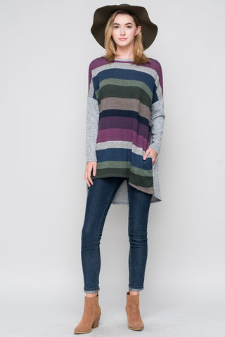 Striped Flowy Tunic  - Purple