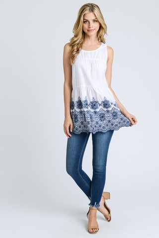 Sleeveless Baby Doll Top - White and Blue