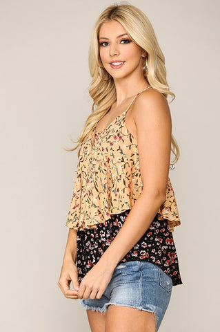 Ditsy Ruffle Top - Apricot/Black