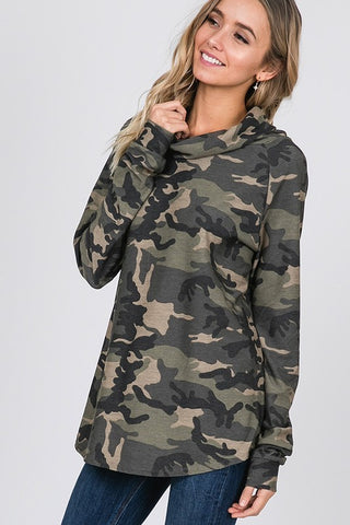 Camo Cowl Neck Top - Olive