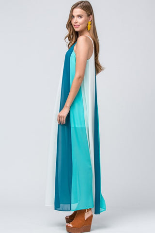Colorful World Maxi Dress - Teal