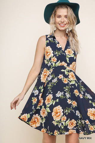 Vintage Style Sleeveless Floral Dress - Navy