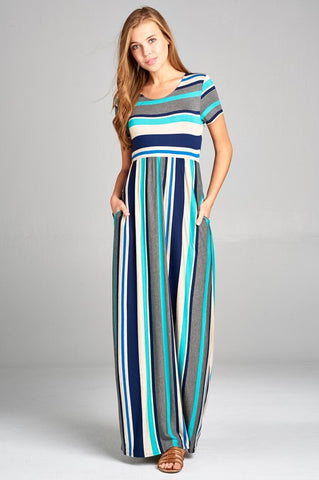 Calliope Short Sleeve Striped Maxi Dress - Jade