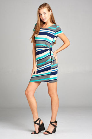 Striped Side Tie Dress - Navy and Mint