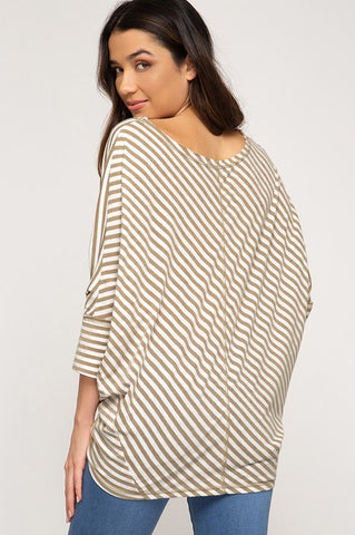 Batwing Slub Knit Top - Mocha