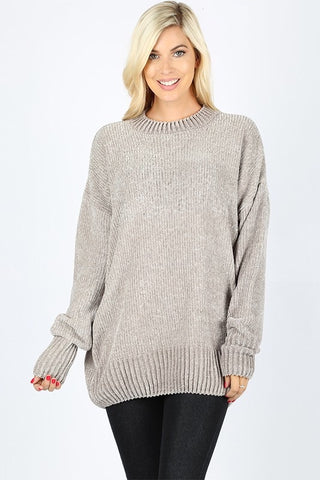 Velvet Yarn Crew Neck Sweater - Light Gray