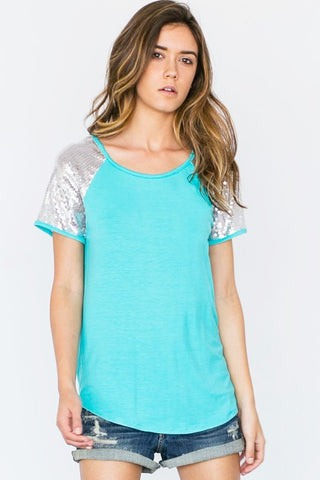 Sequined Sleeved Top - Aqua