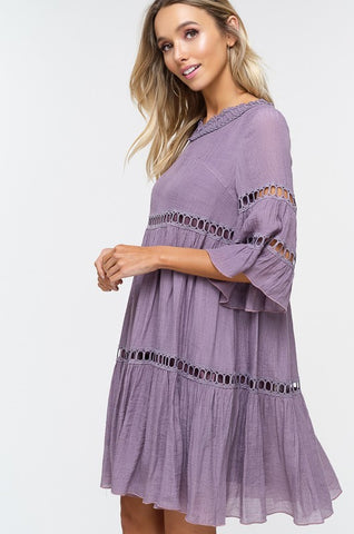 Babydoll Boho Dress - Grape Shake