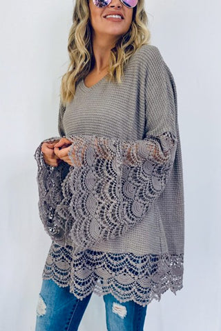 Bell Sleeve Lace Top - Taupe